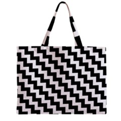 Black And White Zigzag Zipper Tiny Tote Bags