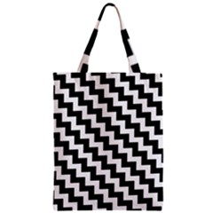 Black And White Zigzag Zipper Classic Tote Bags