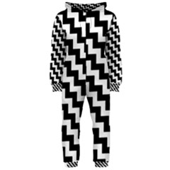 Black And White Zigzag Hooded Jumpsuit (Ladies)