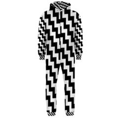 Black And White Zigzag Hooded Jumpsuit (Men)