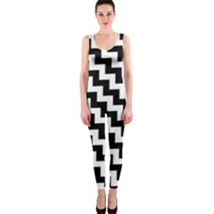 Black And White Zigzag OnePiece Catsuits