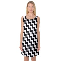 Black And White Zigzag Sleeveless Satin Nightdresses