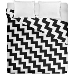 Black And White Zigzag Duvet Cover (double Size)