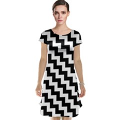 Black And White Zigzag Cap Sleeve Nightdresses