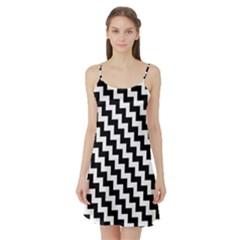 Black And White Zigzag Satin Night Slip