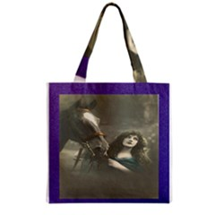 Vintage Woman With Horse Grocery Tote Bags