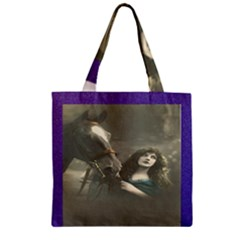 Vintage Woman With Horse Zipper Grocery Tote Bags