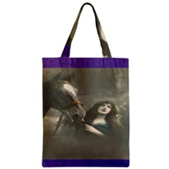 Vintage Woman With Horse Zipper Classic Tote Bags