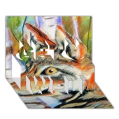 Wolfpastel Get Well 3d Greeting Card (7x5)