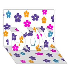 Candy Flowers Boy 3d Greeting Card (7x5)