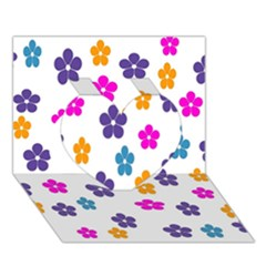 Candy Flowers Heart 3d Greeting Card (7x5)