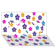 Candy Flowers Twin Hearts 3D Greeting Card (8x4)