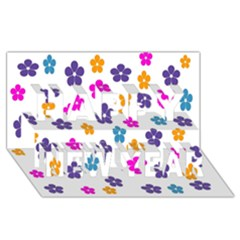 Candy Flowers Happy New Year 3D Greeting Card (8x4)