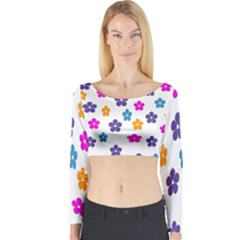 Candy Flowers Long Sleeve Crop Top