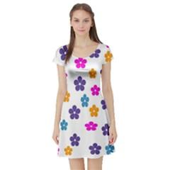 Candy Flowers Short Sleeve Skater Dresses