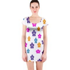Candy Flowers Short Sleeve Bodycon Dresses