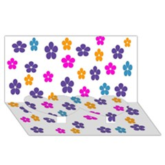 Candy Flowers Twin Heart Bottom 3D Greeting Card (8x4)