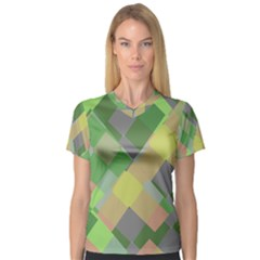 Squares And Other Shapes Women s V Neck Sport Mesh Tee
