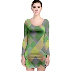 Squares and other shapes Long Sleeve Bodycon Dress