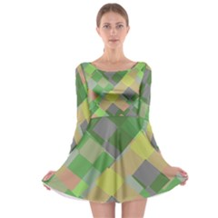 Squares and other shapes Long Sleeve Skater Dress