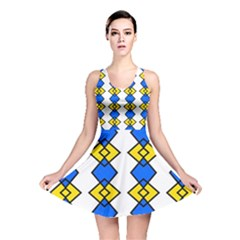 Blue yellow rhombus pattern Reversible Skater Dress