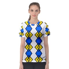 Blue yellow rhombus pattern Women s Sport Mesh Tee
