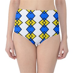 Blue yellow rhombus pattern High-Waist Bikini Bottoms