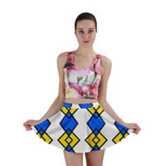 Blue yellow rhombus pattern Mini Skirt