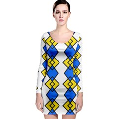 Blue yellow rhombus pattern Long Sleeve Bodycon Dress