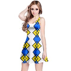 Blue Yellow Rhombus Pattern Sleeveless Dress