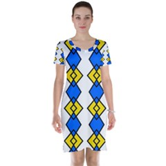 Blue yellow rhombus pattern Short Sleeve Nightdress