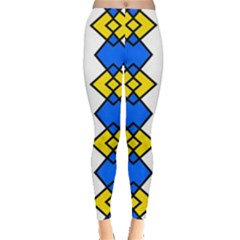 Blue Yellow Rhombus Pattern Leggings