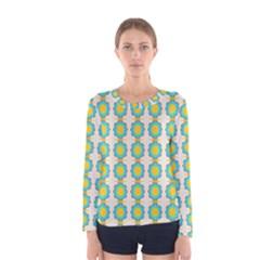 Blue flowers pattern Women Long Sleeve T-shirt