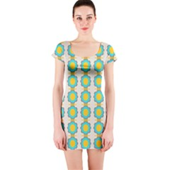Blue Flowers Pattern Short Sleeve Bodycon Dress