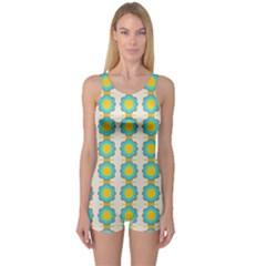Blue flowers pattern Women s Boyleg One Piece Swimsuit