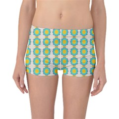 Blue flowers pattern Boyleg Bikini Bottoms