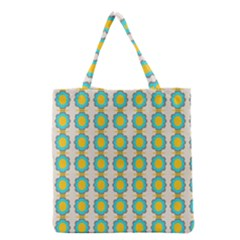 Blue flowers pattern Grocery Tote Bag