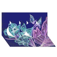 Bluepurple Twin Hearts 3D Greeting Card (8x4)