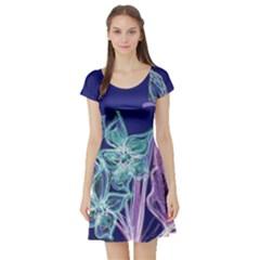 Bluepurple Short Sleeve Skater Dresses
