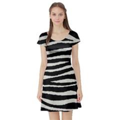 Black White Tiger  Short Sleeve Skater Dress