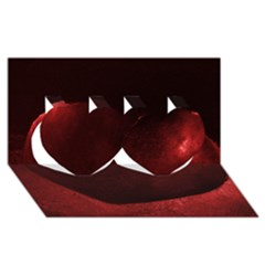 Red Heart Twin Hearts 3D Greeting Card (8x4)