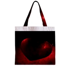 Red Heart Zipper Grocery Tote Bags