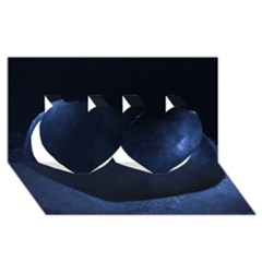 Blue Heart Collection Twin Hearts 3D Greeting Card (8x4)