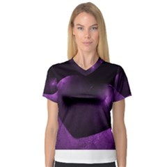 Purple Heart Collection Women s V Neck Sport Mesh Tee