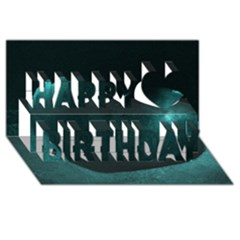 Teal Heart Happy Birthday 3d Greeting Card (8x4)