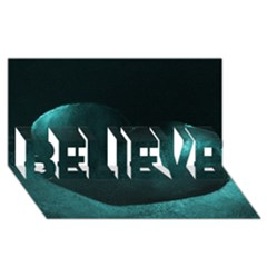 Teal Heart BELIEVE 3D Greeting Card (8x4)