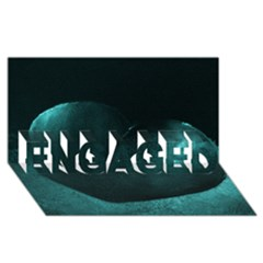 Teal Heart Engaged 3d Greeting Card (8x4)