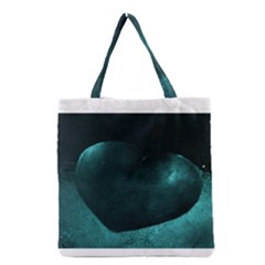 Teal Heart Grocery Tote Bags