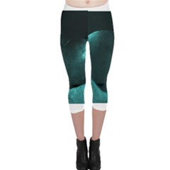 Teal Heart Capri Leggings