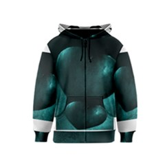 Teal Heart Kids Zipper Hoodies